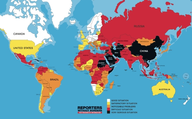 Map of media freedom in the World