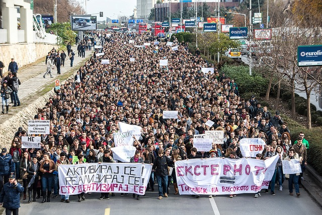 Thousands of students protested plans to introduce external testing for university students (Photo Vančo Džambaski)